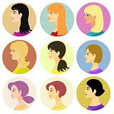 women, girlavatar on a colored. vector illustration