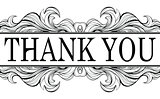 Thank you vintage message with antique frame design element isol