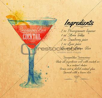 Cosmopolitan cocktails watercolor kraft