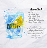 Tom Collins cocktails watercolor