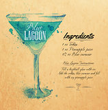 Blue Lagoon cocktails watercolor kraft