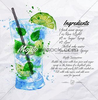 Mojito cocktails watercolor