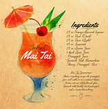 Mai Tai cocktails watercolor kraft