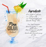 Pina colada cocktails watercolor