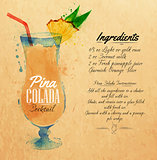 Pina colada cocktails watercolor kraft