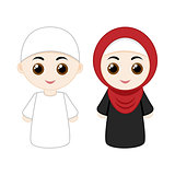 Cartoon muslim couple