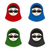 Cartoon avatars of girls with hijab
