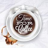 Poster cup kofem alarm clock in crumpled paper