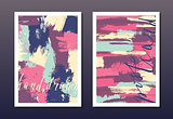 Modern grunge brush postcard template