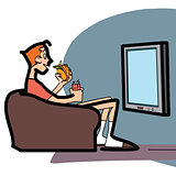 Viewer with fast food on couch