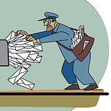 The postman a lot of paper mail and Inbox