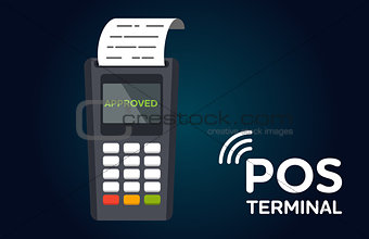 POS payment terminal flat vector icon.