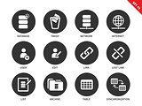 Database icons on white background