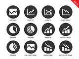 Line chart icons on white background
