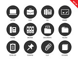 Office icons on white background