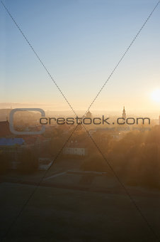 Old town in sunrise