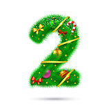 Fir tree decorative number.