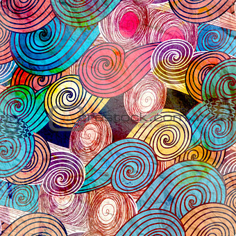Watercolor background with abstract elements