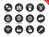 Networking icons on white background