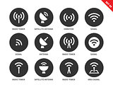 Radio tower icons on white background