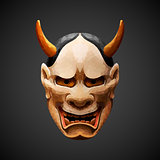 low poly mask Noh theater Hannya Side light