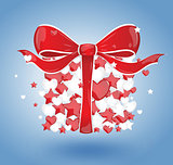 Gift bubbles hearts red