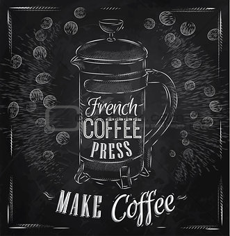 Poster French coffee press chalk
