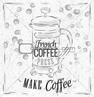 Poster French coffee press coal
