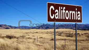 California brown road sign