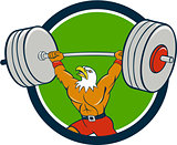 Bald Eagle Weightlifter Lifting Barbell Circle Cartoon