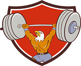 Bald Eagle Weightlifter Lifting Barbell Crest Cartoon