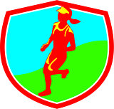 Female Triathlete Marathon Runner Shield