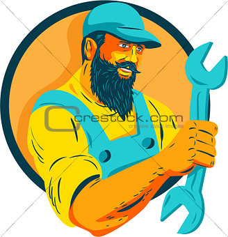 Bearded Mechanic Holding Spanner Circle WPA