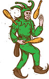 Medieval Jester Juggling Wooden Pins Drawing