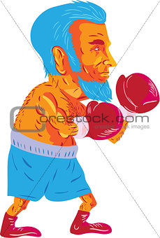 Bearded Boxer Boxing Cartoon WPA