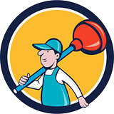Plumber Carrying Plunger Walking Circle Cartoon