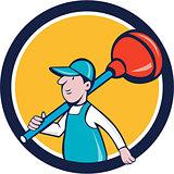 Plumber Carrying Plunger Walking Circle Cartoon