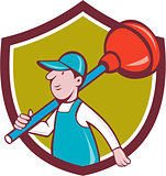 Plumber Carrying Plunger Walking Shield Cartoon