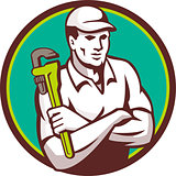 Plumber Monkey Wrench Arms Crossed Circle Retro