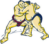 Japanese Sumo Wrestler Wrestling Drawing