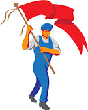 Worker Marching Flag Bearer WPA