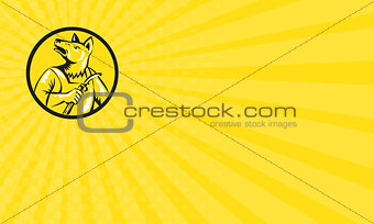 Business card Dingo Dog Welder Circle Retro