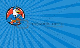 Business card Bald Eagle Policeman Baton Circle Cartoon