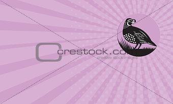 Business card California Valley Quail Bird Circle Retro