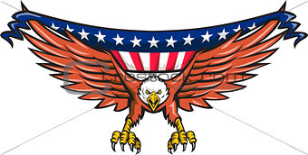 American Eagle Swooping USA Flag Retro
