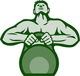Athlete Weightlifter Lifting Kettlebell Retro