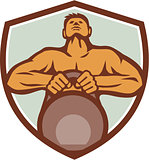 Athlete Weightlifter Lifting Kettlebell Crest Retro