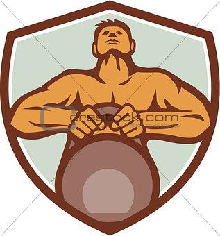 Athlete Weightlifter Lifting Kettlebell Crest Retro