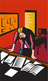 Teacher Depressed Table Classroom Woodcut