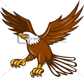 American Eagle Swooping Isolated Retro
